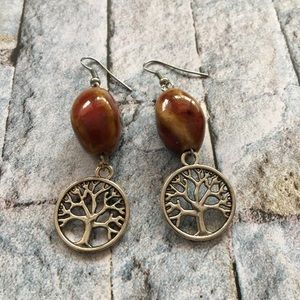 💍Ceramic Bead and Tree Charm Earrings